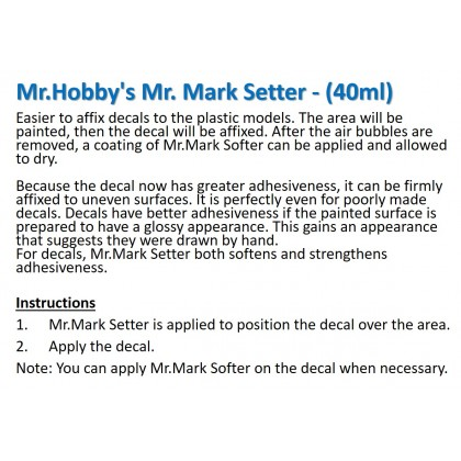 [Gundam Gang] Mr. Mark Setter Mark Softer 40ml (Deliver to West Malaysia Only)